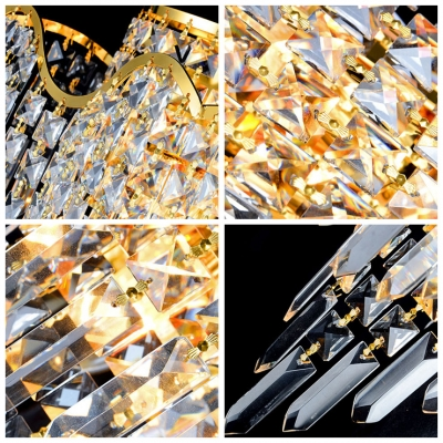 Amazing European Style Wall Sconce Adorned with Faceted Crystals and Curving Arm