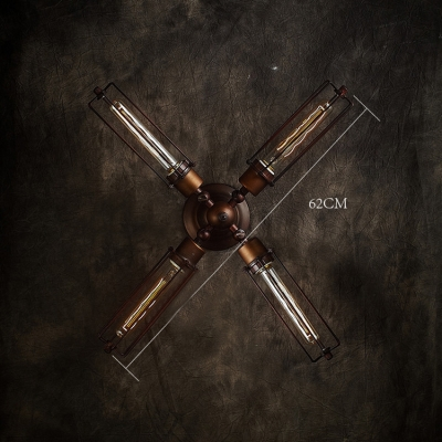 Antique 4-light Cross LED Wall Sconce in Industrial Style