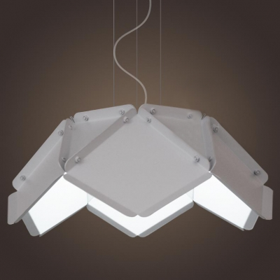 Art Deco Folding Metal Shaded Medium Pendant Light