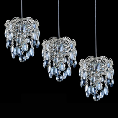 Baycheer / Beautiful Blue Crystal Beads and Chrome Finish Detailing Add Mystery to Graceful Multi-Light Pendant
