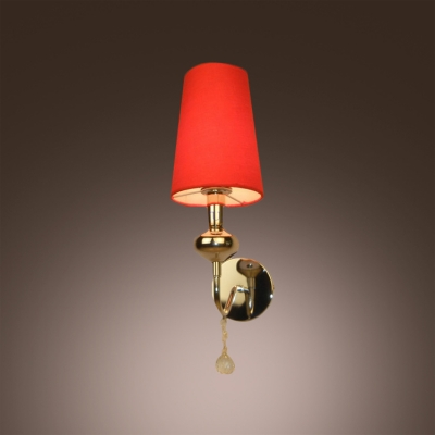 Beautiful Crystal Drop and Bold Red Fabric Shade Composed Striking Wall Sconce