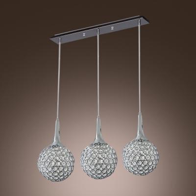 Bright Crystal And Metal Multi Light Pendant Light Hanging