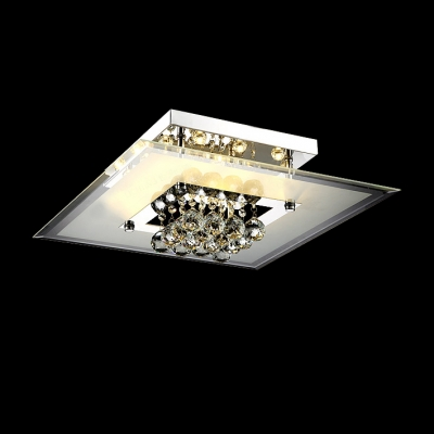 Brilliant Design Cluster of Crystal Small Globes Suspended Modern and Bold Square Flush Mount