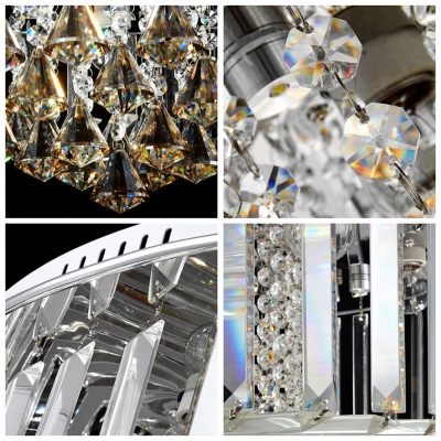 Brilliant Design Round Flush Mount Lights Hanging Crystal Prisms and Spheres