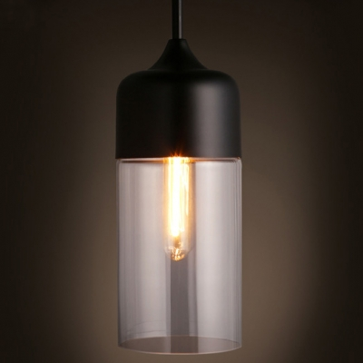 Bullet Shape Mini Industrial Pendant Light in Black/White