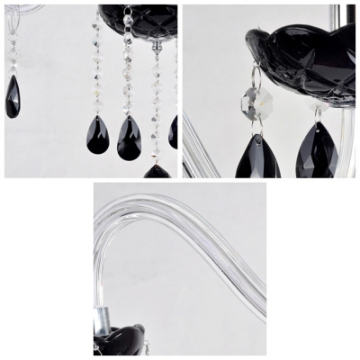 Charming Pleated Black Glass Bobeche Add Stunning Touch to Sleek Crystal Chandelier.