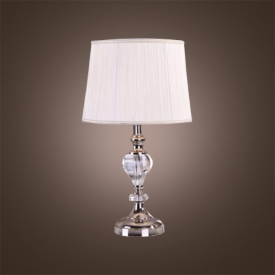 Clear Crystal Finish Table Lamp with White Shade Complements Classic and Contemporary Decors