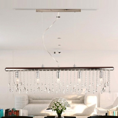 Distinctive Suspension Style Ceiling Light Features Strands of Clear Crystal Beads