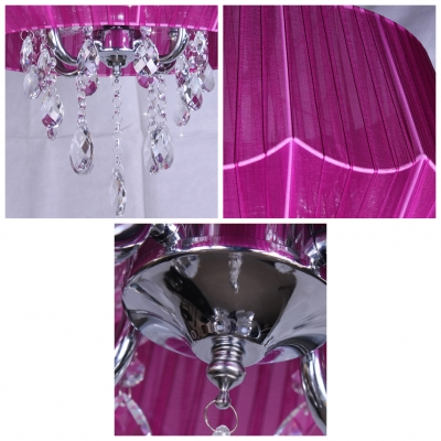 Elegant and Romantic Purple String Drum Shade Beautiful Chandelier Accented by Crystals