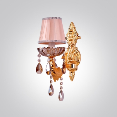 Elegant Decorative Wall Light Fixture Offers Strolling Fish-like Arm and Lead Crystal Droplets