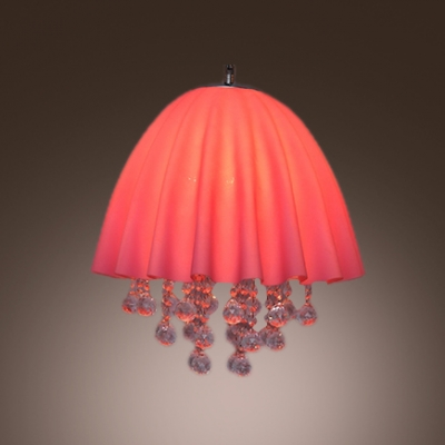 Eye-catching Four Light Large Pendant Features Adorable Pink Fabric Shade and Clear Crystal Balls