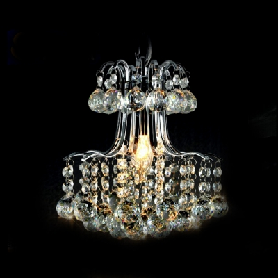 Glamorous Single Light Large Pendant Features Graceful Scrolling Arms Hanging Strands of Crystal Beads