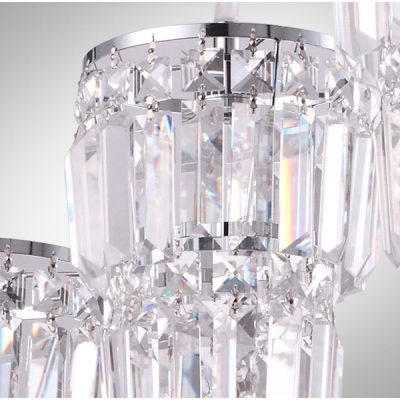 Glistening 3-light Chrome Multi Light Pendant Features Array of Crystal Strands