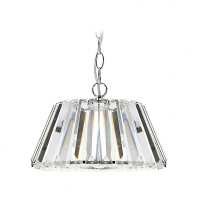 Glittering and Gorgeous Clear Crystal Prisms Drum Shaded Large Pendant Light