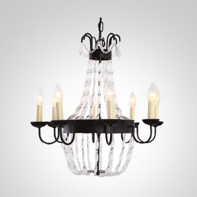 Gorgeous Clear Crystal Strands Black Finished Band Classic Chandelier