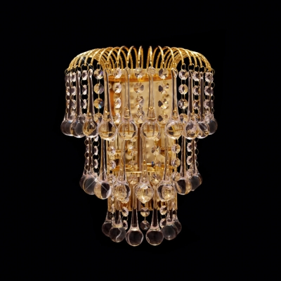 Gorgeous Wall Sconce with Three Tiers of  Crystals Offers Addition to Your Decor