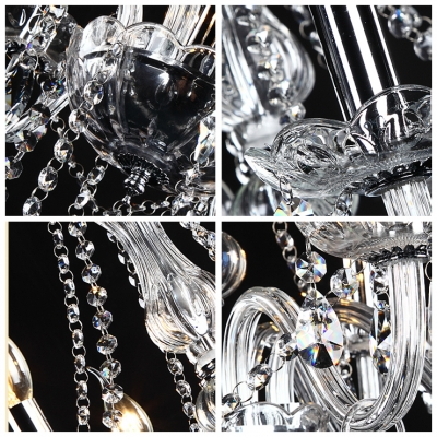 Impressive 8-Light Crystal Chandelier Shinning with Crystal Chains and Droplets