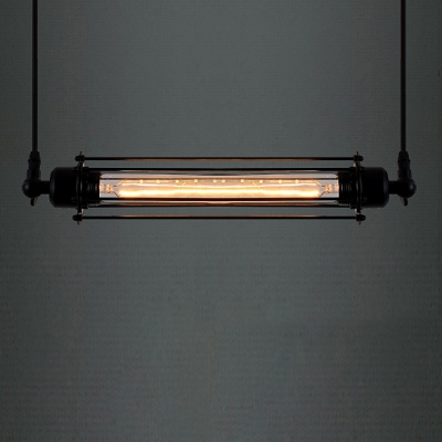 Industrial Punk Steam Black Finished Linear Pendant