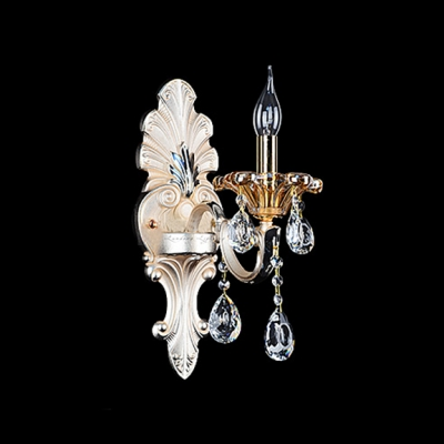 Magnificent Single Light and Crystal Creates Stunning Wall Sconce with Beige Fabric Bell Shade