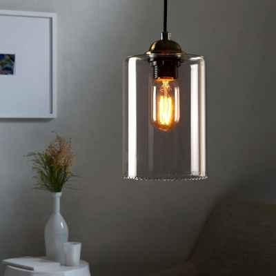 1 light led mini pendant light with cylindrical shade in clear 1 light led mini pendant light with cylindrical shade in clear glass aloadofball Images