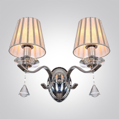 Modest and Chic Clear Crystal Teardrops Two Lights Wall Sconce Embracing Gray Empire Fabric Shade