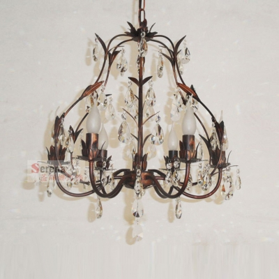 Rustic Iron Leaf Hand-Cut Crystal Droplets Antique Bronze Chandelier