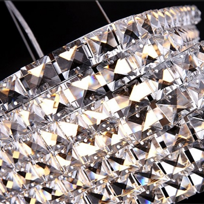 Shinning Faceted Crystal Beads Embedded Bold Design Geometric Shaped Large Pendant Light