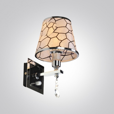 Sophisticated Refined Silver Finished Crystal Accent Wall Sconce with Delicate Block Patterned Fabric Shade
