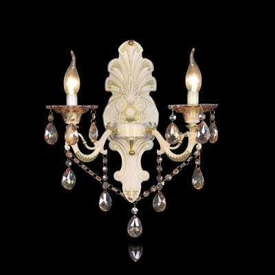 Sophisticated Romantic Cream Two Light Crystal Wall Sconce - Beautifulhalo.com