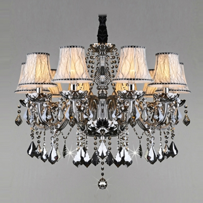 Sparkling Hand Cut Gray Crystal Waterfall 10-Light Classic Style Chandelier