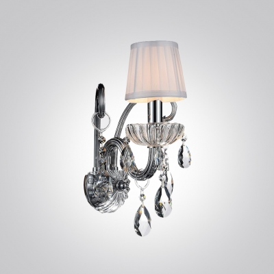 Striking Wall Sconce with Ivory Fabric Shade Features  Beautiful Clear Crystal Drops