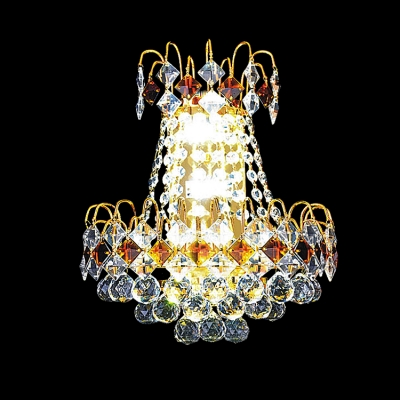 Stylish Double Light Wall Sconce Features Contemporary Gold Finish and Dazzling Crystal
