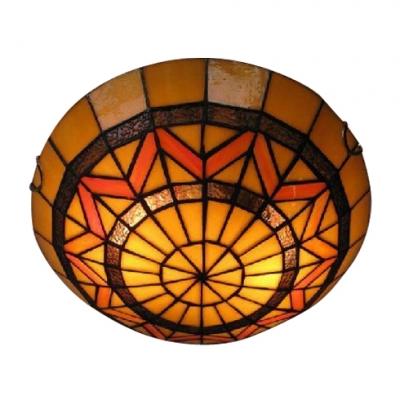 Three Light Tiffany Flush Mount Light Fixture with Splendid Strip Shape