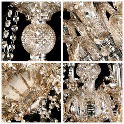 Warm and Elegant Amber Crystal Pendaloques and Ball Six Lights Crystal Glass Column Chandelier