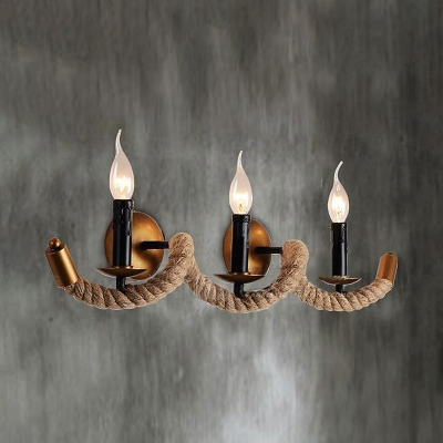 Wave Rope Industry Light LED Wall Sconce In Country Style - 3 light bathroom sconce