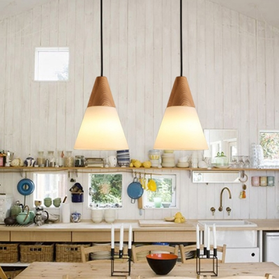 Wood and Frosted Glass Cone Shaded Elegantly Designer Mini Pendant Light