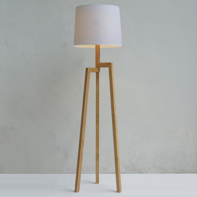Wood Tripod And Fabric Drum Shaded Floor Lamp In Designer Style ...