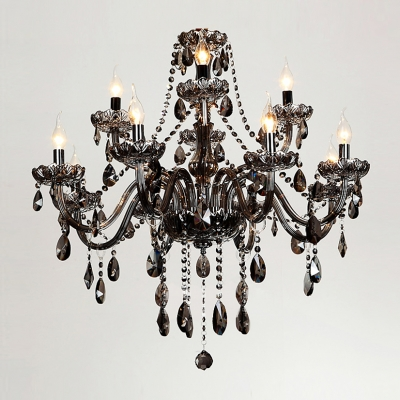 "Image of ""12-Light 31.5""""Wide Brilliant Smoky Crystal Waterfall Large Dinning Room Chandelier"""