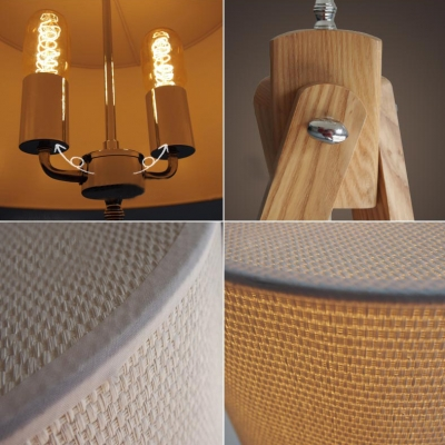 "Linen Drum Shaded And Wood Tripod Designer Floor Lamp 59""High"