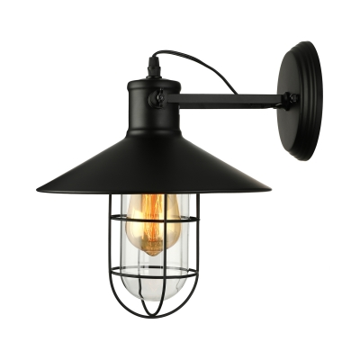 Nautical Style Railroad Shade Sconce with Wire Guard Metal Single Light Wall Sconce in Black 11
