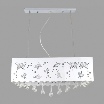 Beautiful Butterflies on White Rectangular Metal Shade Add Charm to Six Light Crystal Accent Style Island Light