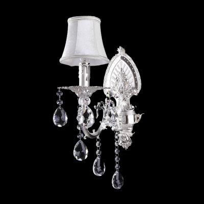 Chic Crysta Accents and Delicate Silver Finish Made Stunning Single Light  Wall Sconce Splendid Look