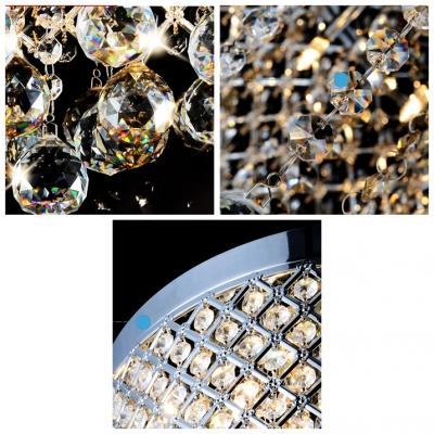 Criss-Cross Chrome Finish Shade Warm Amber Crystal Globes Chandelier Pendant Light