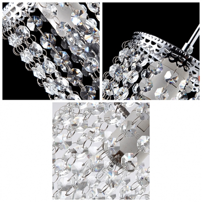 Crystal Beaded Strands Shade Chrome Finished Adjustable Modern and Elegant Mini Pendant