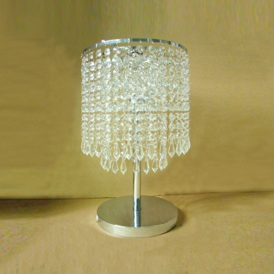 Dazzling Single Light Table Lamp with Delicate Electroplated Chrome Finish Base and Crystal Falls Shade