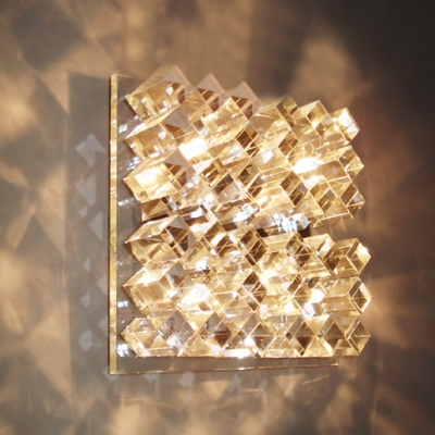 Dazzling Transparent Crystal Glass Wall Light Fixture Features ...
