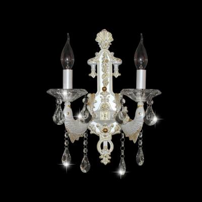 Delicate Shimmering Crystal Wall Sconce Featured Christmas Tree Panel Fish-like Strolling Arm