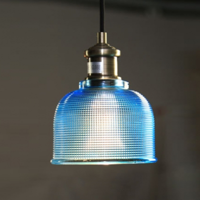 Downward Dome Glass Pendant in Grey/Blue/Orange/White Colors
