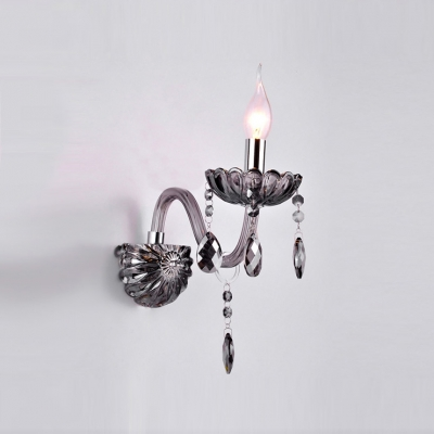 Elegant Single Light Crystal Wall Sconce with Delicate Back Plate and Graceful Curving Arm