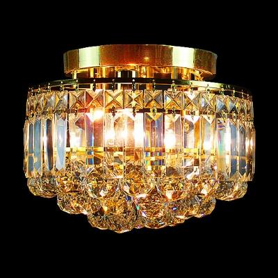 """Elegantly Golden Finish Frame and Clear Crystal 12.2""""Wide Flush Mount Light"""